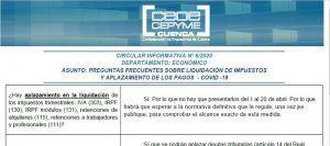 CEOE-Cepyme Cuenca informa a sus empresas sobre la liquidación de impuestos y el aplazamiento de pagos