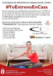 El Ayuntamiento de Cabanillas ofrece ejercicios para que los usuarios del Polideportivo practiquen en casa