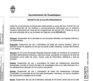 El Ayuntamiento de Guadalajara incrementa las medidas preventivas por el avance del coronavirus, siguiendo las directrices de la autoridad sanitaria