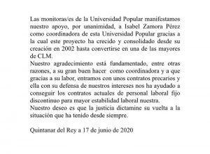 Apoyo unánime de lasos monitorases de la Universidad Popular de Quintanar del Rey al trabajo de su coordinadora y a su labor sindical
