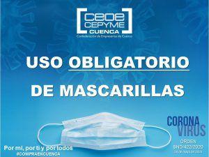 CEOE-Cepyme Cuenca traslada a sus empresas la orden por la que se modifica el uso de mascarilla en los transportes