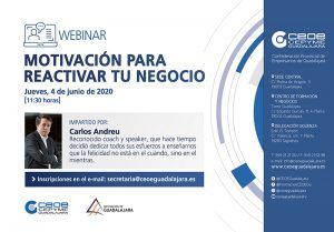 CEOE-Cepyme Guadalajara programa una webinar motivacional para la reactivación de los negocios
