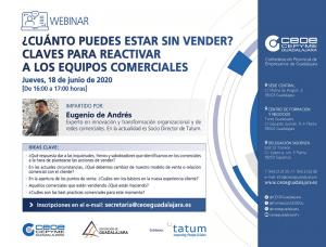 Las claves para reactivar a los equipos comerciales centrará un nuevo webinar de CEOE-Cepyme Guadalajara
