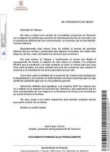 El Ayuntamiento de Tarancón pide a RENFE que no se supriman servicios en el tren convencional y se realicen mejoras en la línea Madrid-Cuenca-Valencia