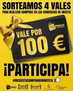 La Asociación de Comercio de Cuenca sigue con sus sorteos, ahora en Iniesta, con 4 vales de 100 euros