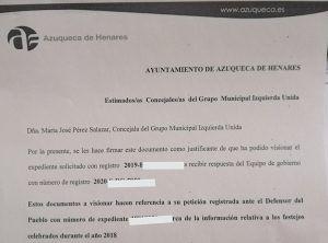 El Defensor del Pueblo da la razón a IU Azuqueca Blanco no les da suficiente información