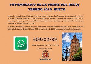 El Ayuntamiento de Huete prepara un recuerdo de este verano 2020 de una manera diferente un fotomosaico de la Torre del Reloj
