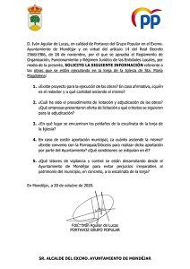 Solicitud información obras lonja iglesia Mondéjar presentada por el PP en el Ayto de Mondéjar