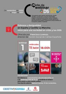 Cáritas Cuenca trata en un webinar la pobreza y desigualdad en España y Castilla-La Mancha en el marco de los objetivos de desarrollo sostenible