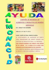 El Ayuntamiento de Almonacid de Zorita impulsa una campaña de recogida de alimentos y productos de primera necesidad