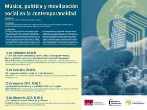 El SPEC-UCLM organiza el ciclo Música, política y movilización social en la contemporaneidad a través de Windows Teams