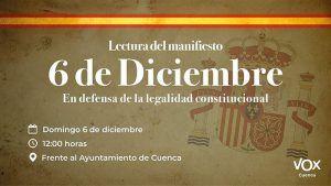 VOX defenderá en Cuenca, a través de la lectura de un manifiesto, el orden constitucional