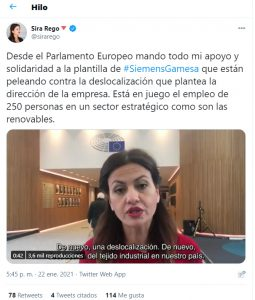 Representantes españoles en el europarlamento se implican en el conflicto provocado por la decisión de Siemens-Gamesa de cerrar sus plantas de Cuenca y Os Somozas