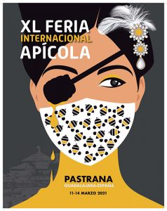 Una imagen de la princesa de Éboli con mascarilla es el cartel anunciador de la XL Feria Apícola