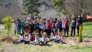 Flores y árboles dan la bienvenida a la primavera de manos de los alumnos del Colegio y la Escuela Infantil Municipal de Trillo