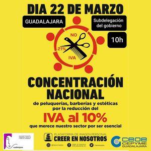 La Asociación de Peluquerías y Centros de Estética de Guadalajara se volverá a concentrar para pedir la bajada del IVA al 10%