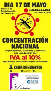 La Asociación de Peluquerías y Centros de Estética de Guadalajara organiza una nueva concentración sumándose a la jornada de protesta nacional