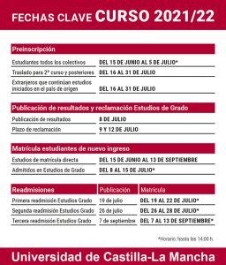 La UCLM abre el plazo de preinscripción para estudios de grado el martes 15 de junio