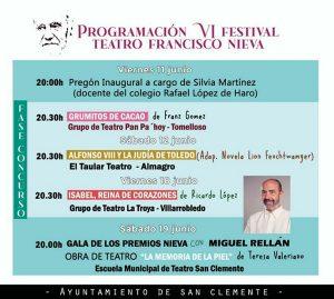 Programa Festival Regional de Teatro Franscisco Nieva