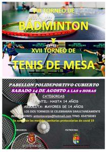 Torneos de Bádminton y de Tenis de Mesa el 14 de agosto en Huete