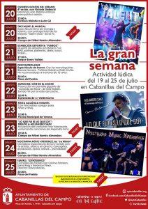 Del 19 al 25 de julio, semana de grandes espectáculos en Cabanillas