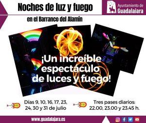 El Ayuntamiento de Guadalajara programa 'Noches de luz y fuego' los viernes y sábados del mes de julio en el barranco del Alamín