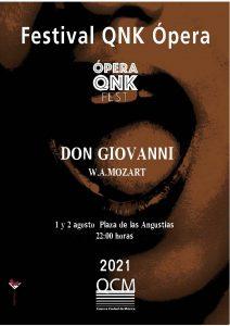 QNK.ÓPERA representará la ópera Don Giovanni en la plaza de las Angustias el 1 y 2 de agosto