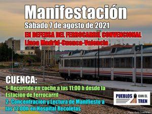 """El Ayuntamiento de Huete se adhiere a la manifestación convocada por la Agrupación """"Pueblos con el Tren"""" para este sábado 7 de agosto"""