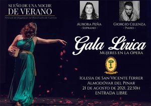 Almodóvar del Pinar acoge el 21 de agosto la Gala Lirica ´Mujeres en la ópera´ con los artistas Aurora Peña y Giorgio Celenza