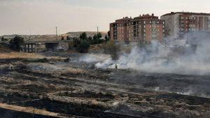 Un incendio en los terrenos de Renfe pone en peligro algunos chalets