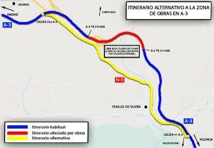 ¡Atención! A partir del lunes habrá itinerarios alternativos por obras en la A-3 sentido Valencia