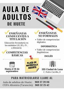 Abierto el plazo de inscripción para la Escuela de Adultos de Huete