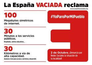 """La España Vaciada exige equilibrio territorial con el Plan 1003030 en el """"Yo paro por mi pueblo"""" del 2 de octubre"""