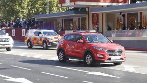 El 1-1-2 y Protección Civil representan a Castilla-La Mancha en el desfile con motivo de la Fiesta Nacional en Madrid