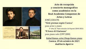 El compositor José Zárate será nuevo miembro de la RACAL el próximo viernes 29 de octubre